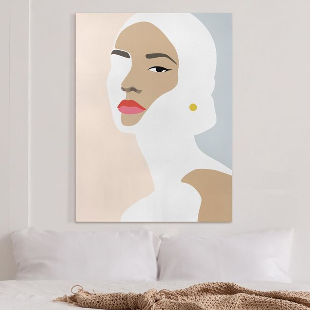 Leinwandbild - Line Art Portrait Frau Pastell Grau - Hochformat 4:3