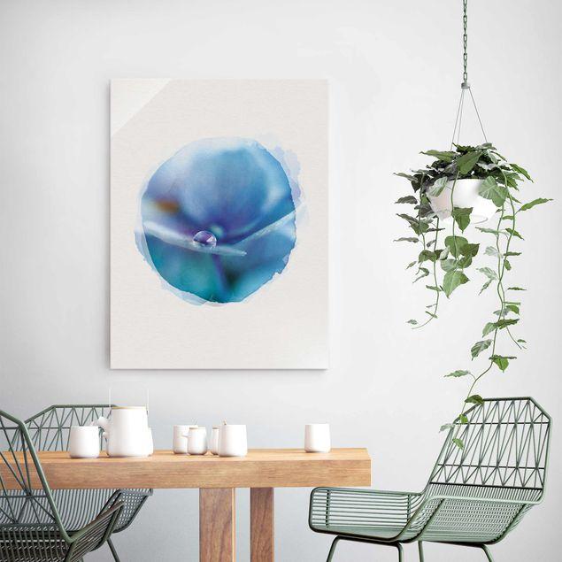 Glasbild - Wasserfarben - Wassertropfen Hortensienblüte - Hochformat 4:3