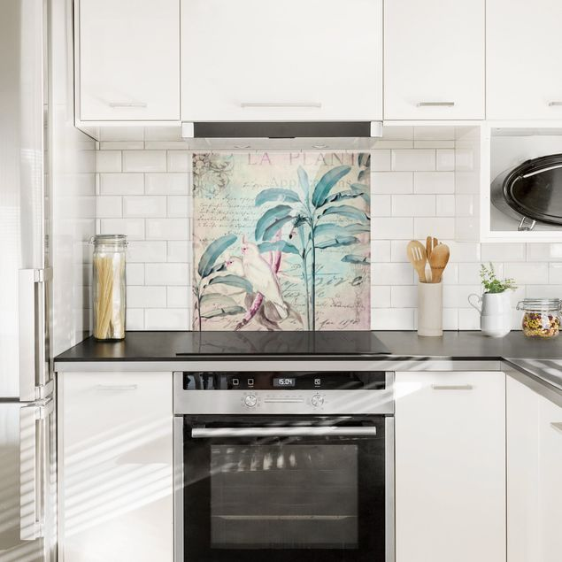 Glas Spritzschutz - Colonial Style Collage - Kakadus und Palmen - Quadrat - 1:1