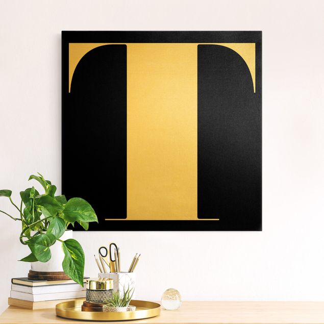 Leinwandbild Gold - Antiqua Letter T Schwarz - Quadrat 1:1