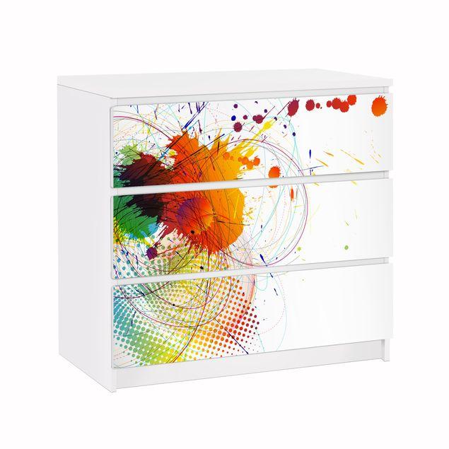Möbelfolie für IKEA Malm Kommode - Klebefolie Rainbow Background