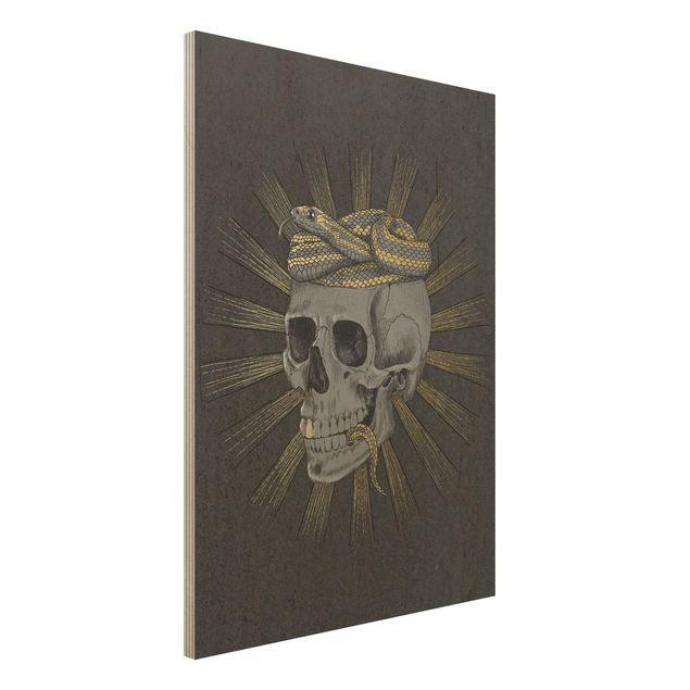 Holzbild - Illustration Totenkopf und Schlange Schwarz Gold - Hochformat 4:3