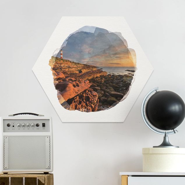 Hexagon Bild Forex - Wasserfarben - Tarbat Ness Meer & Leuchtturm bei Sonnenuntergang