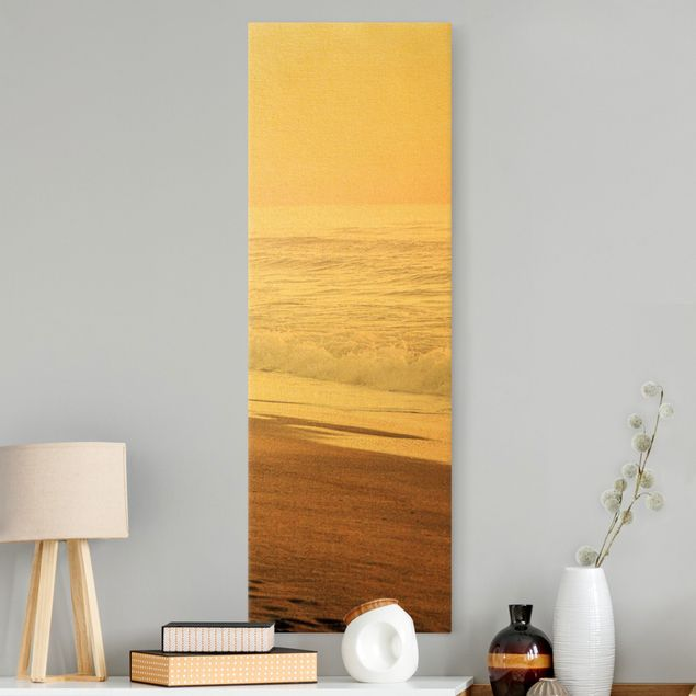 Leinwandbild Gold - Kalifornien Sonnenuntergang - Hochformat 1:3