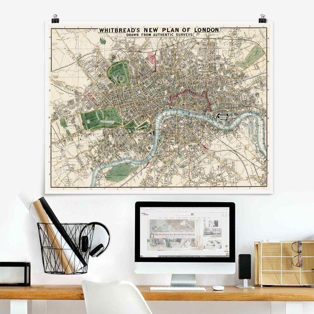 Poster - Vintage Stadtplan London - Querformat 3:4