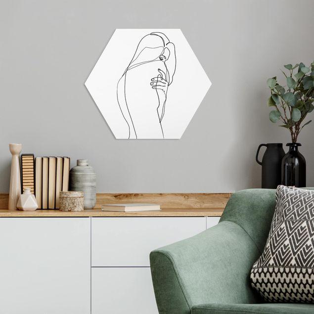 Hexagon Bild Forex - Line Art Frauenakt Schulter Schwarz Weiß