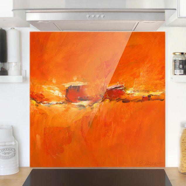 Glas Spritzschutz - Petra Schüßler - Komposition in Orange - Quadrat - 1:1