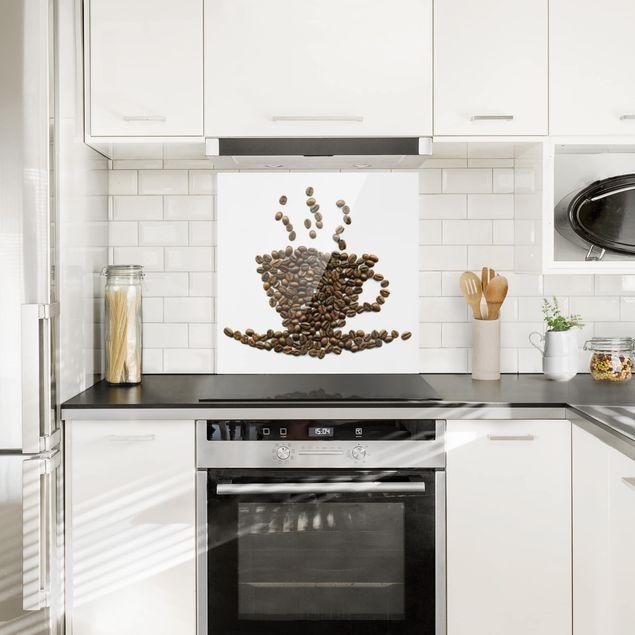 Glas Spritzschutz - No.294 Coffee Beans Cup - Quadrat - 1:1