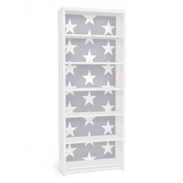 Möbelfolie für IKEA Billy Regal - Klebefolie Weiße Sterne auf grauen Hintergrund