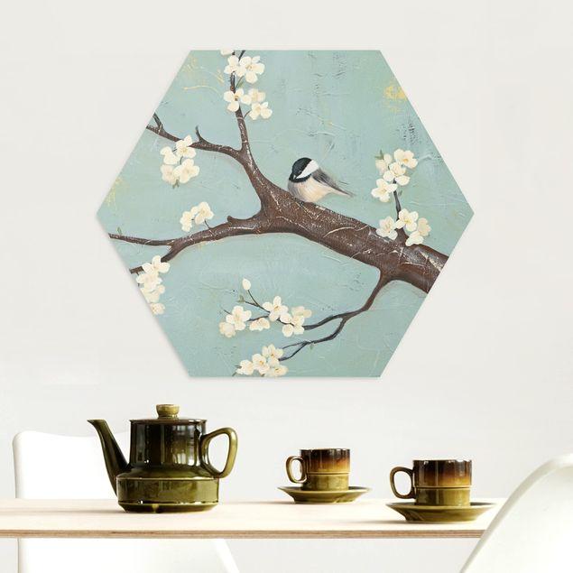 Hexagon Bild Alu-Dibond - Meise auf Kirschbaum