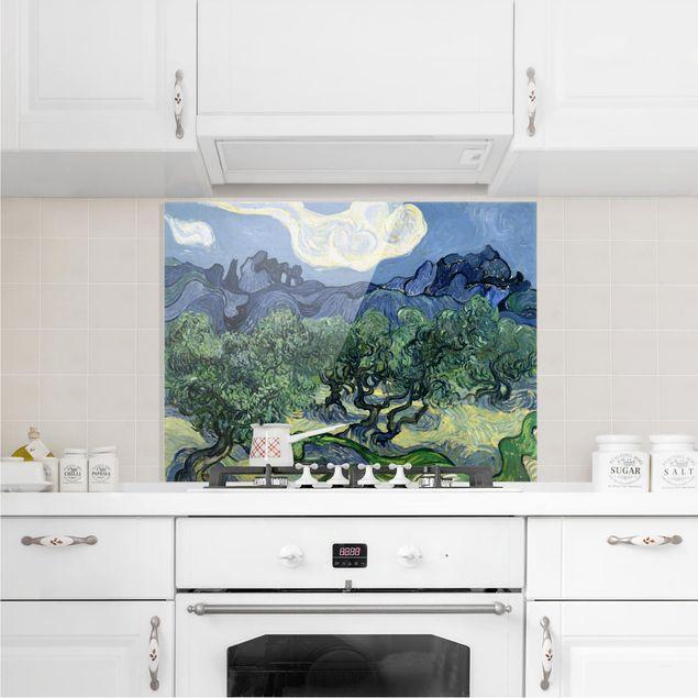 Glas Spritzschutz - Vincent van Gogh - Olivenbäume - Querformat - 4:3