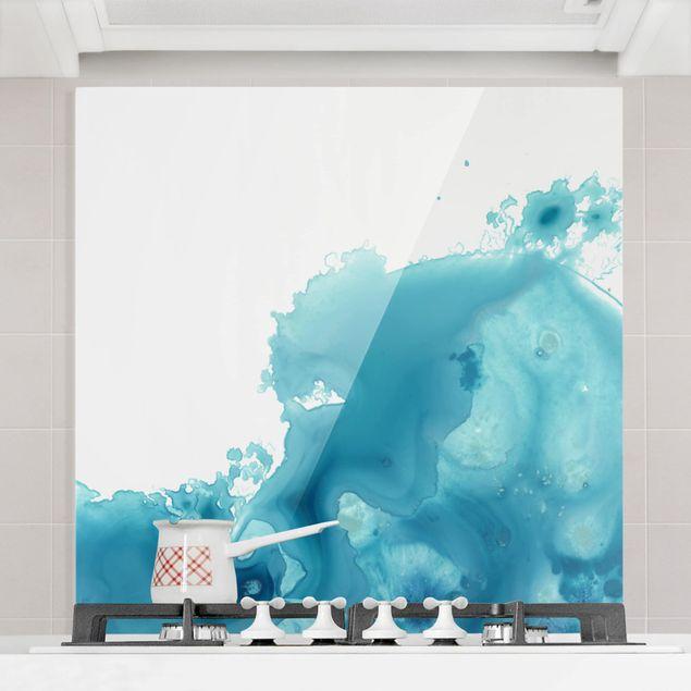 Glas Spritzschutz - Welle Aquarell Türkis II - Quadrat - 1:1