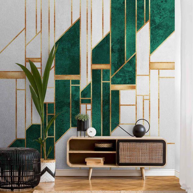 Metallic Tapete - Emerald und Gold Geometrie