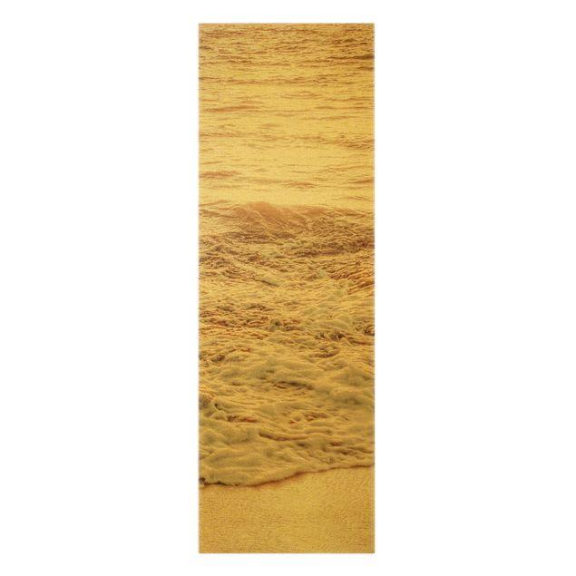 Leinwandbild Gold - Goldener Strand - Hochformat 1:3