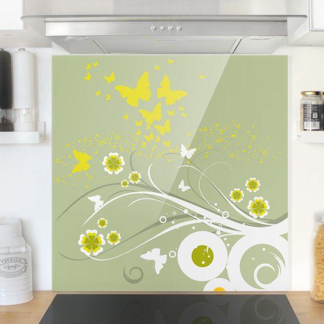 Glas Spritzschutz - Schmetterlinge im Frühling - Quadrat - 1:1
