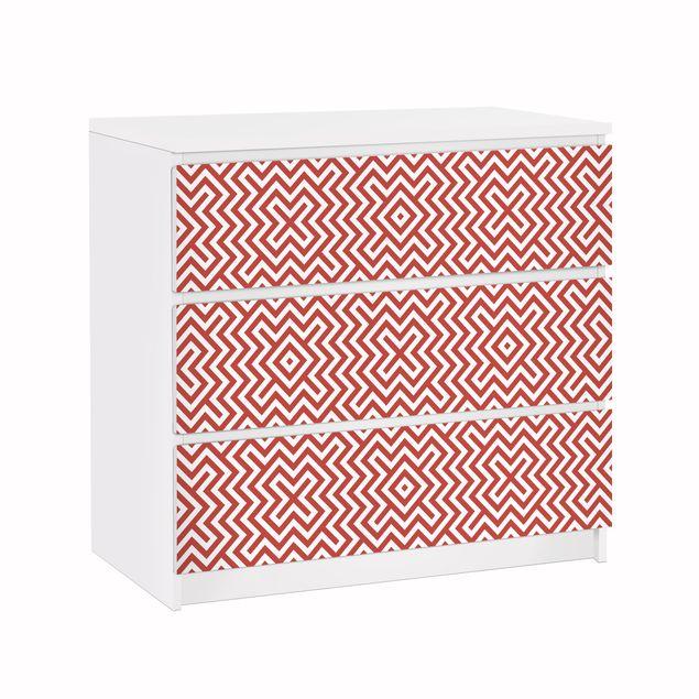Möbelfolie für IKEA Malm Kommode - Klebefolie Rotes Geometrisches Streifenmuster