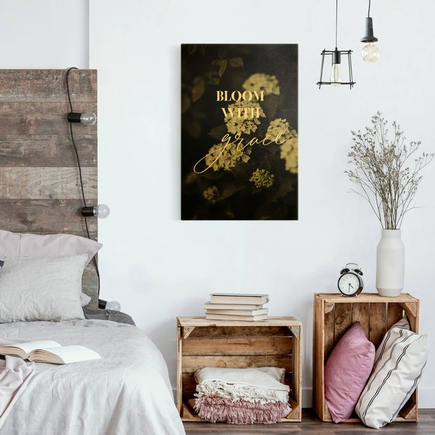 Leinwandbild Gold - Hortensien - Bloom with grace - Hochformat 2:3