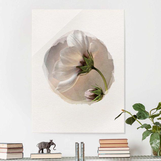 Glasbild - Wasserfarben - Himmlischer Blütentraum - Hochformat 4:3