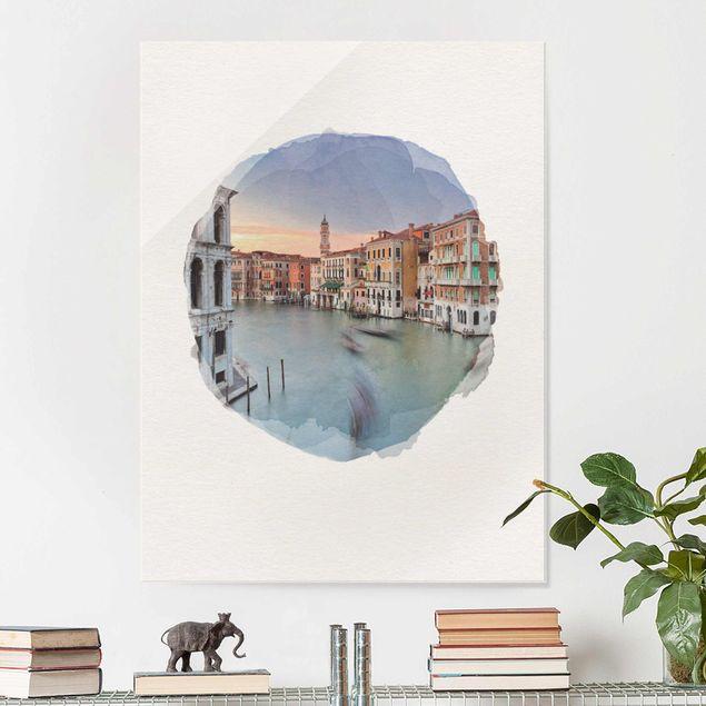 Glasbild - Wasserfarben - Canale Grande Blick von der Rialtobrücke Venedig - Hochformat 4:3