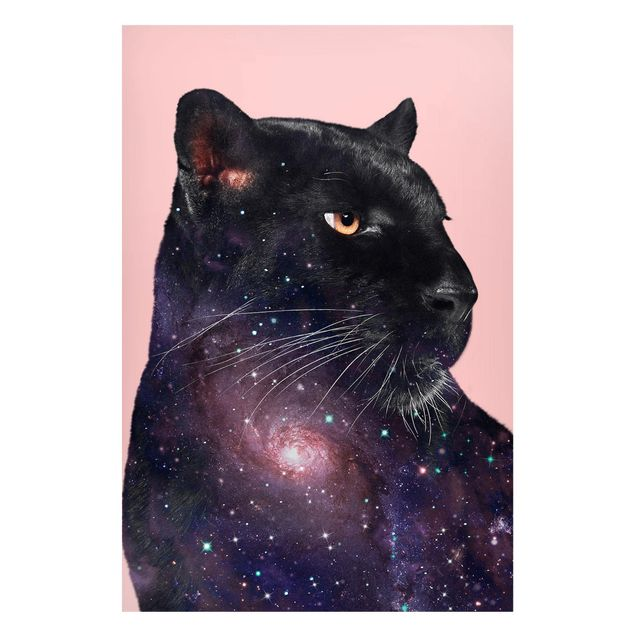 Magnettafel - Jonas Loose - Panther mit Galaxie - Memoboard Hochformat 3:2