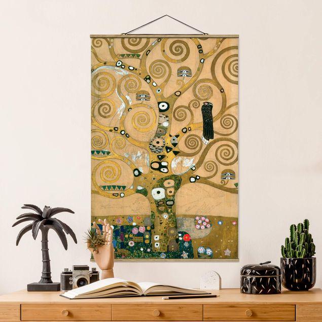 Stoffbild mit Posterleisten - Gustav Klimt - Der Lebensbaum - Hochformat 2:3