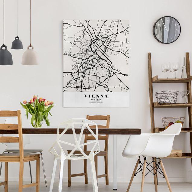 Leinwandbild - Stadtplan Vienna - Klassik - Hochformat 4:3
