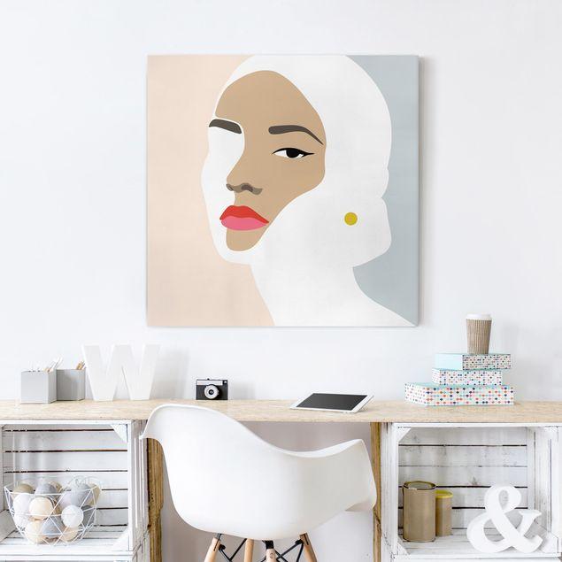 Leinwandbild - Line Art Portrait Frau Pastell Grau - Quadrat 1:1