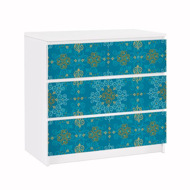 Möbelfolie für IKEA Malm Kommode - Klebefolie Orientalisches Ornament Türkis