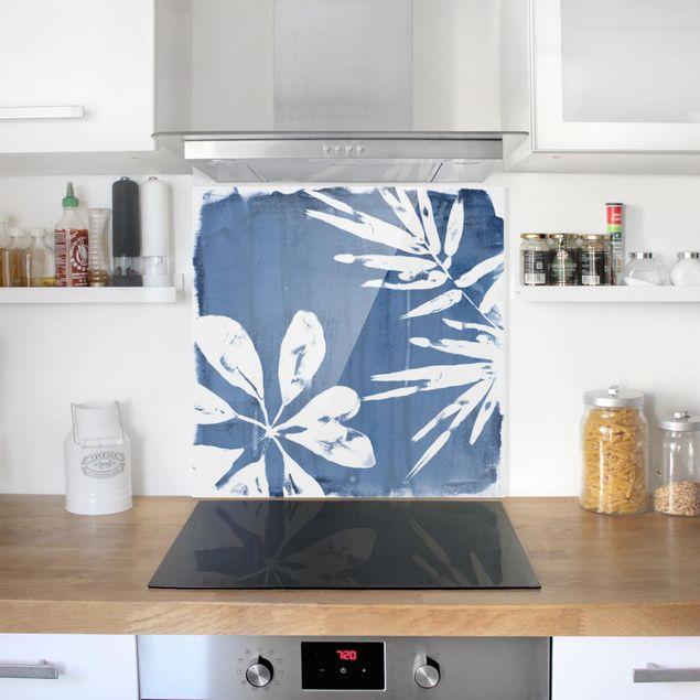 Glas Spritzschutz - Tropische Blätter Indigo I - Quadrat - 1:1