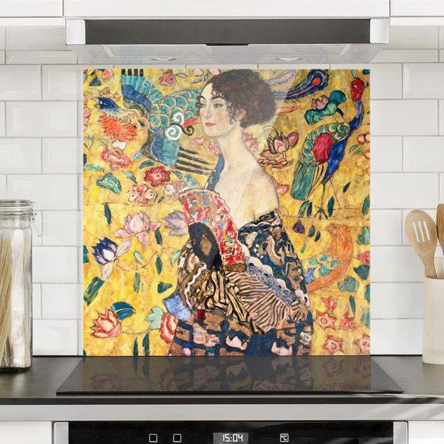 Spritzschutz Glas - Gustav Klimt - Dame mit Fächer - Quadrat 1:1