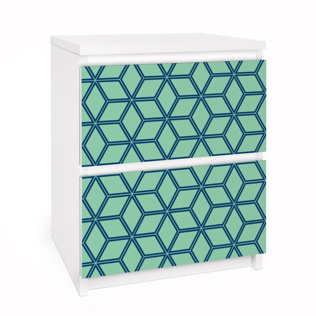 Möbelfolie für IKEA Malm Kommode - Selbstklebefolie Würfelmuster grün
