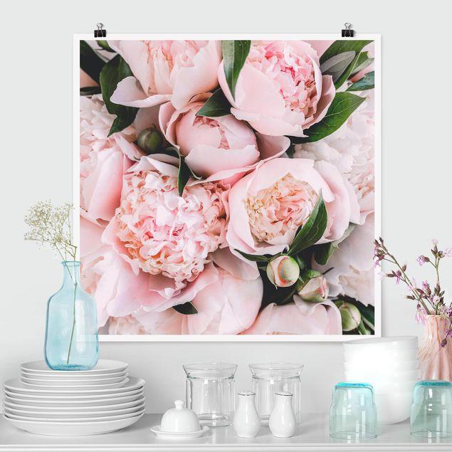 Poster - Rosa Pfingstrosen mit Blättern - Quadrat 1:1