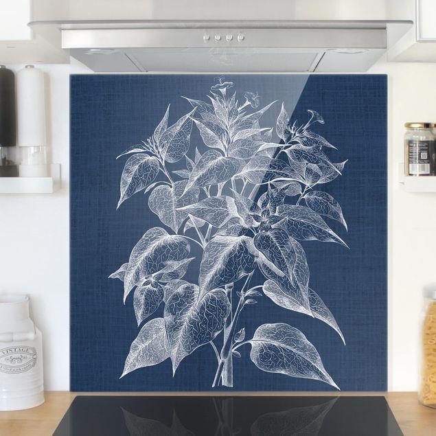 Glas Spritzschutz - Denim Pflanzenstudie III - Quadrat - 1:1