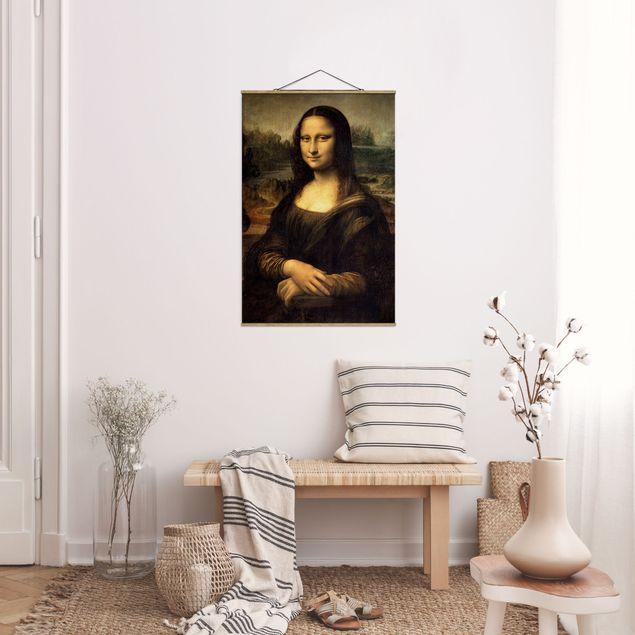 Stoffbild mit Posterleisten - Leonardo da Vinci - Mona Lisa - Hochformat 2:3