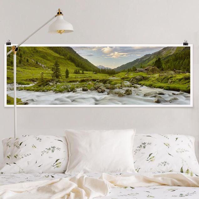 Poster - Alpenwiese Tirol - Panorama Querformat