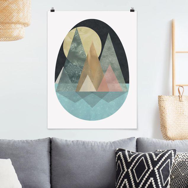 Poster - Utopische Landschaft - Sonne - Hochformat 3:4