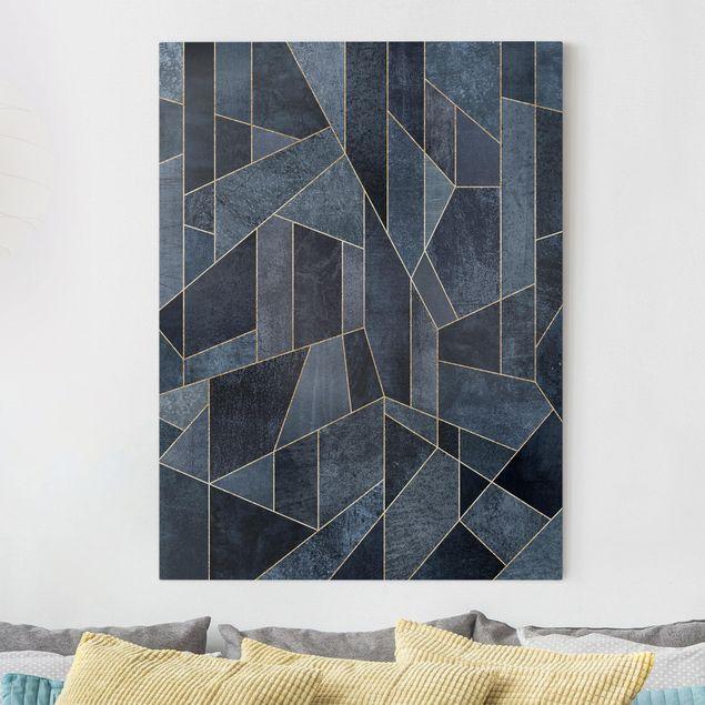 Leinwandbild - Blaue Geometrie Aquarell - Hochformat 4:3
