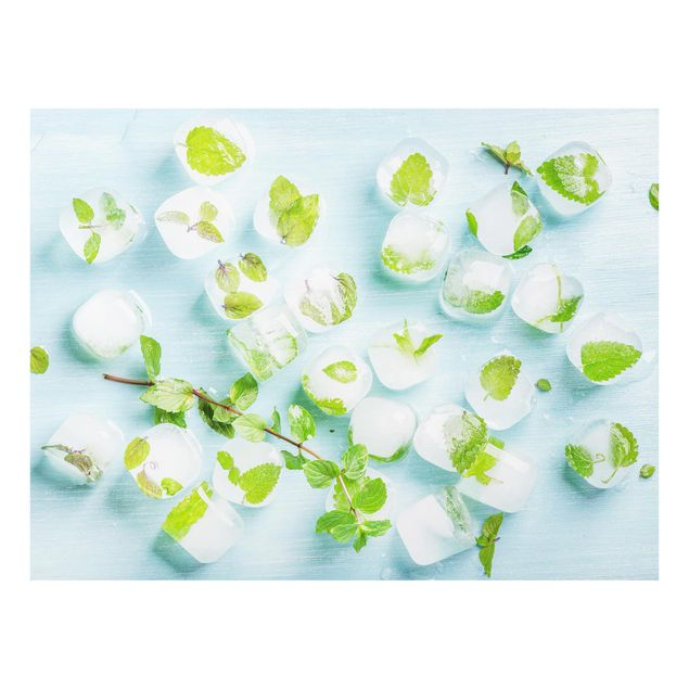 Glas Spritzschutz - Eiswürfel mit Minzblättern - Querformat - 4:3