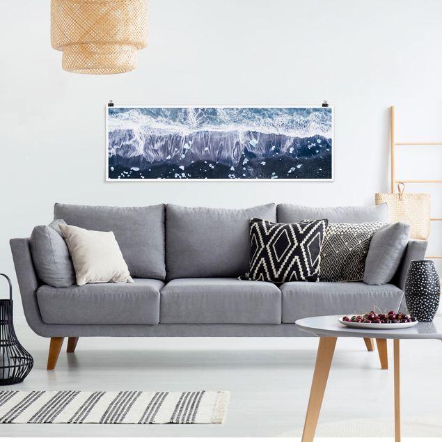 Poster - Luftbild - Jökulsárlón in Island - Panorama Querformat