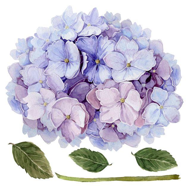 Wandtattoo - Aquarell Hortensie Blaue Blüte XXL