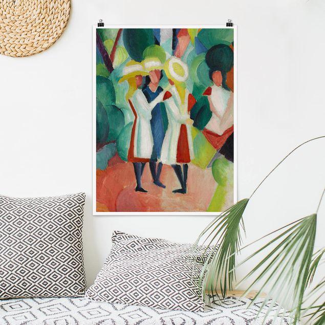 Poster - August Macke - Drei Mädchen - Hochformat 3:4