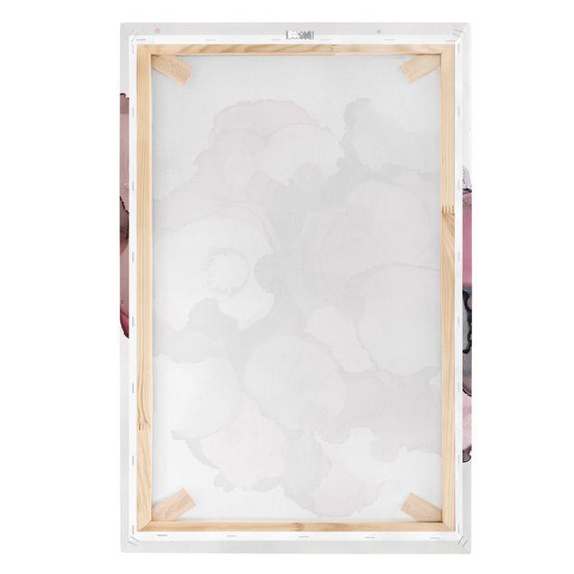 Leinwandbild - Pink-Beige Tropfen mit Roségold - Hochformat 2:3