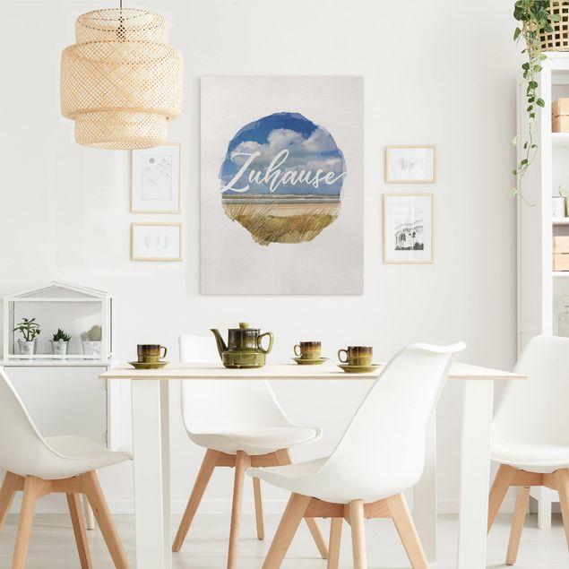 Leinwandbild - Wasserfarben - Zuhause - Hochformat 4:3