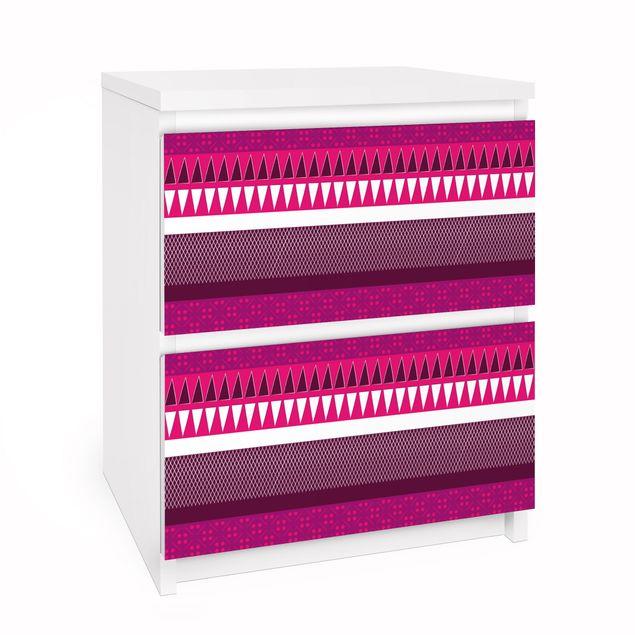 Möbelfolie für IKEA Malm Kommode - Selbstklebefolie Pink Ethnomix
