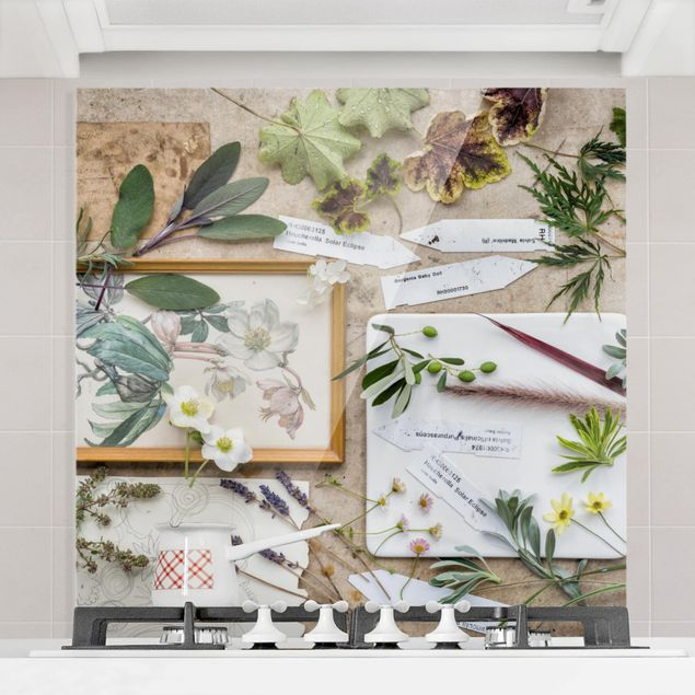 Glas Spritzschutz - Blumen und Gartenkräuter Vintage - Quadrat - 1:1