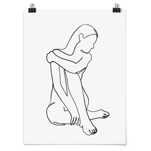 Poster - Line Art Frau Akt Schwarz Weiß - Hochformat 4:3