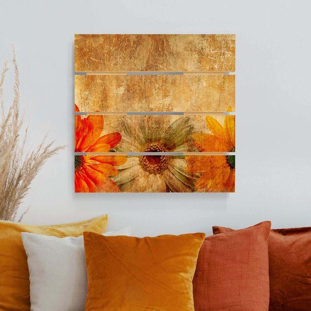 Holzbild - Vintage Flowermix - Quadrat 1:1