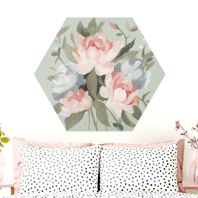 Hexagon Bild Alu-Dibond - Bouquet in Pastell I