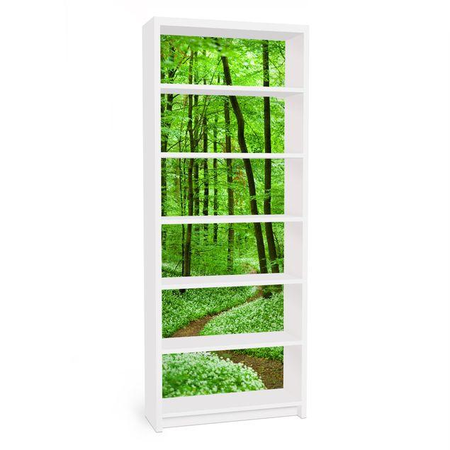 Möbelfolie für IKEA Billy Regal - Klebefolie Romantischer Waldweg