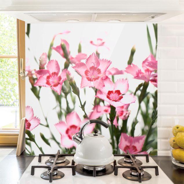 Glas Spritzschutz - Pink Flowers - Quadrat - 1:1